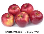 fresh apples over white... | Shutterstock . vector #81129790
