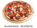 pizza with mushroomsisolated on white background - stock photo