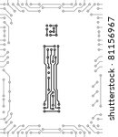 alphabet of printed circuit... | Shutterstock .eps vector #81156967