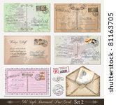 old style distressed postcards  ... | Shutterstock .eps vector #81163705