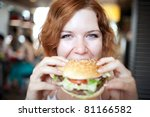 beauty woman in cafe eating... | Shutterstock . vector #81166582