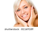 Portrait of young beautiful blonde woman with hands on cheeks - stock photo