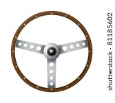 Wooden Rim Steering Wheel With...