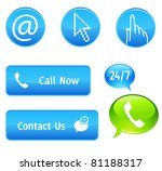 Call now or contact us buttons - stock vector