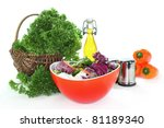 a bowl of mixed salad with... | Shutterstock . vector #81189340