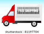 illustration of free shipping bar code on truck - stock vector