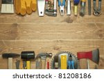different tools on a wooden... | Shutterstock . vector #81208186