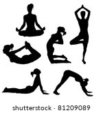 set of yoga practices | Shutterstock .eps vector #81209089