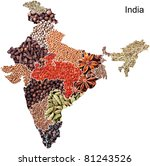 Political map of India with spices and herbs on white background - stock photo