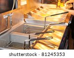deep fryer with boiling oil on... | Shutterstock . vector #81245353
