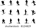 skiing silhouettes | Shutterstock .eps vector #8124829