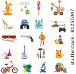 toy icons set in vector