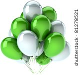 Birthday party balloons celebrate decoration green white multicolor. Happy joy fun positive abstract. Anniversary holiday greeting card concept. Detailed 3d render. Isolated on white background - stock photo