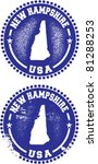 New Hampshire USA Stamps - stock vector