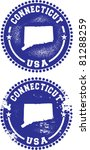 Connecticut USA Stamps - stock vector
