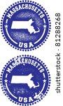 Massachusetts USA Stamps - stock vector