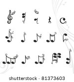 musical notes with floral... | Shutterstock .eps vector #81373603