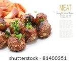 meat balls with wedges or chips | Shutterstock . vector #81400351