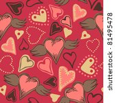 seamless doodle hearts on pink... | Shutterstock .eps vector #81495478