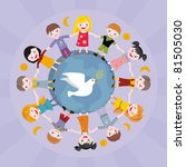 Children keeping for hands round globe, and white pigeon - stock photo