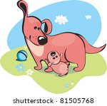 Mama dog and the baby-puppy - stock photo
