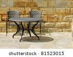 black outdoor patio set with... | Shutterstock . vector #81523015