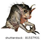 3D Rendering of a Evil creature sitting - stock photo