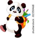 Stock vector cute panda on his way to school 81550468