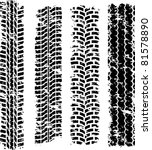 set of four dirty tire tracks | Shutterstock .eps vector #81578890