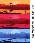 Istanbul cityscape bridge silhouettes vector illustration set - stock vector