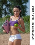 sporty young woman with scales... | Shutterstock . vector #81591865