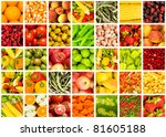 collage of many fruits and... | Shutterstock . vector #81605188