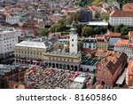 Aerial view of Zagreb, the capital of Croatia - stock photo