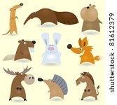 animal,anteater,beaver,cartoon,character,collection,comic,critter,cute,drawing,elk,fox,funny,hamster,happiness