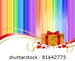 golden gift box on a striped... | Shutterstock .eps vector #81642775
