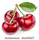 three perfect sweet cherries... | Shutterstock . vector #81645607