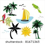 palms exotic. elements for... | Shutterstock .eps vector #81671365