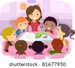 Illustration Of Kids Listening...