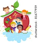 Illustration of Kids Playing in an Apple-Shaped School - stock vector