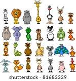 Stock vector big set of various cartoon animals and birds 81683329