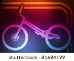 Professional trial mountain bike neon background vector - stock vector