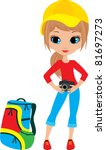 pretty girl with the camera.... | Shutterstock .eps vector #81697273