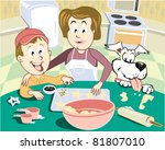 making cookies with mom | Shutterstock .eps vector #81807010