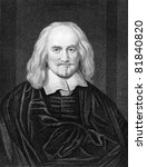 Thomas Hobbes (1588-1679). Engraved by J.Pofselwhite and published in The Gallery Of Portraits With Memoirs encyclopedia, United Kingdom, 1837. - stock photo