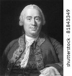 David Hume (1711-1776). Engraved by W.Holl and published in The Gallery Of Portraits With Memoirs encyclopedia, United Kingdom, 1833. - stock photo