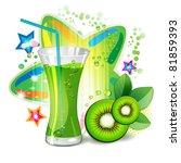 glass of kiwi juice with kiwi...   Shutterstock .eps vector #81859393