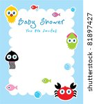 baby ocean shower card | Shutterstock .eps vector #81897427