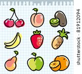 set of colorful fruits on paper ... | Shutterstock .eps vector #81912094