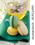 traditional french dessert  colorful macaro?ns - stock photo