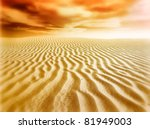 sand desert,sunset - stock photo